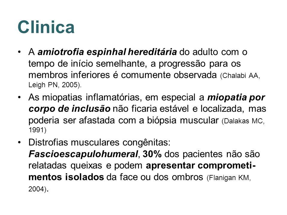 Clinica A amiotrofia espinhal hereditária do adulto com o tempo de início semelhante, a progressão para os membros inferiores é comumente observada (C