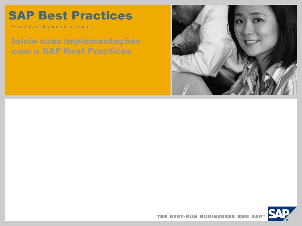 SAP Best Practices Know-how válido para todos os setores Inicie suas implementações com o SAP Best Practices