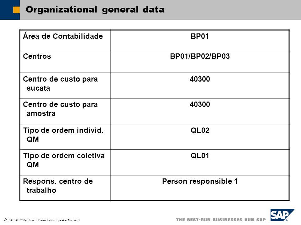  SAP AG 2004, Title of Presentation, Speaker Name / 5 Organizational general data Área de ContabilidadeBP01 CentrosBP01/BP02/BP03 Centro de custo par