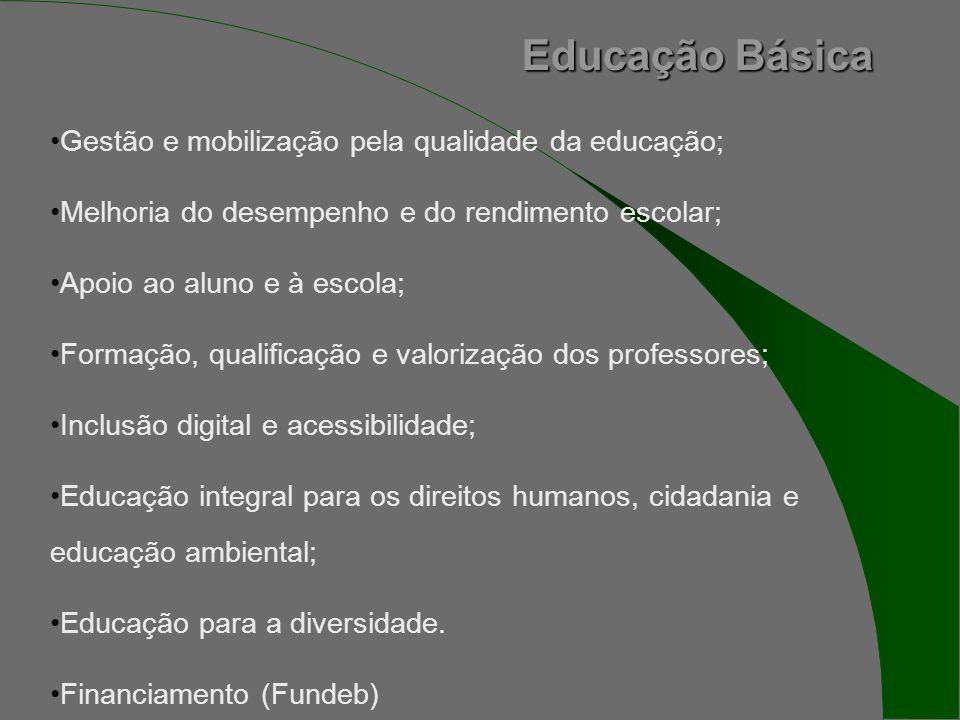 Educação Básica Gestão e mobilização pela qualidade da educação; Melhoria do desempenho e do rendimento escolar; Apoio ao aluno e à escola; Formação, qualificação e valorização dos professores; Inclusão digital e acessibilidade; Educação integral para os direitos humanos, cidadania e educação ambiental; Educação para a diversidade.