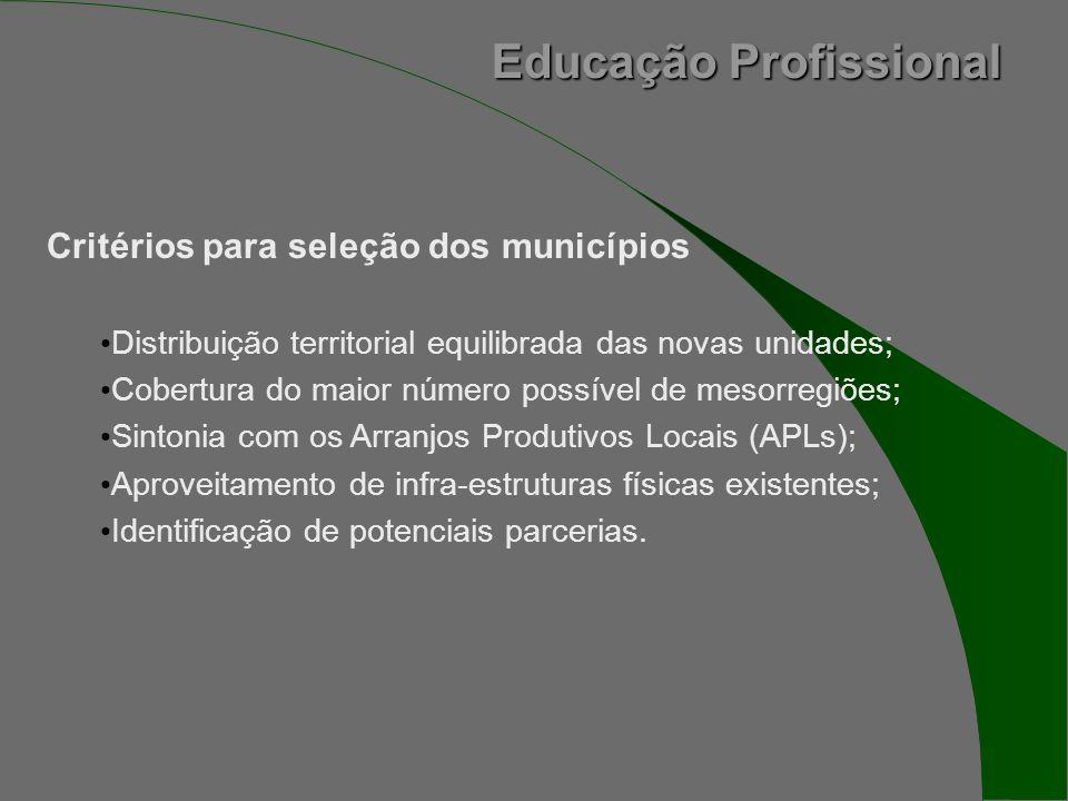 Educação Profissional Critérios para seleção dos municípios Distribuição territorial equilibrada das novas unidades; Cobertura do maior número possível de mesorregiões; Sintonia com os Arranjos Produtivos Locais (APLs); Aproveitamento de infra-estruturas físicas existentes; Identificação de potenciais parcerias.