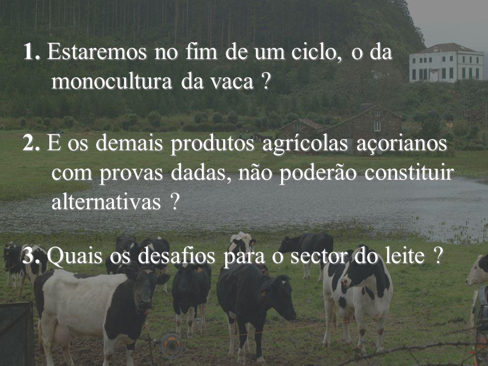 1. Estaremos no fim de um ciclo, o da monocultura da vaca ? 2. E os demais produtos agrícolas açorianos com provas dadas, não poderão constituir alter