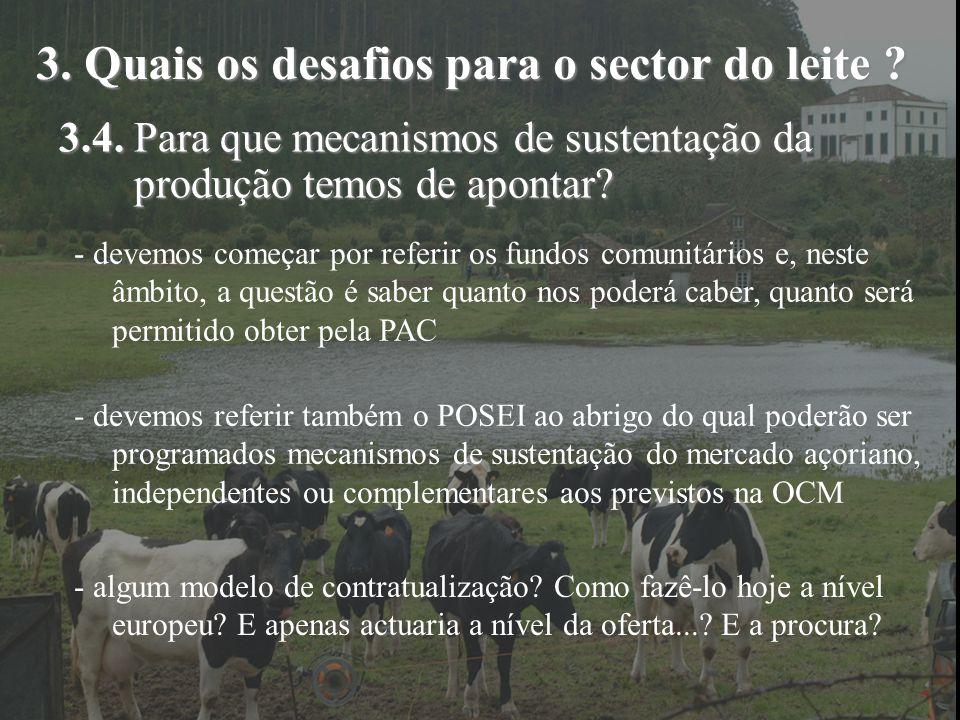 3. Quais os desafios para o sector do leite ? 3.4. Para que mecanismos de sustentação da produção temos de apontar? - devemos começar por referir os f