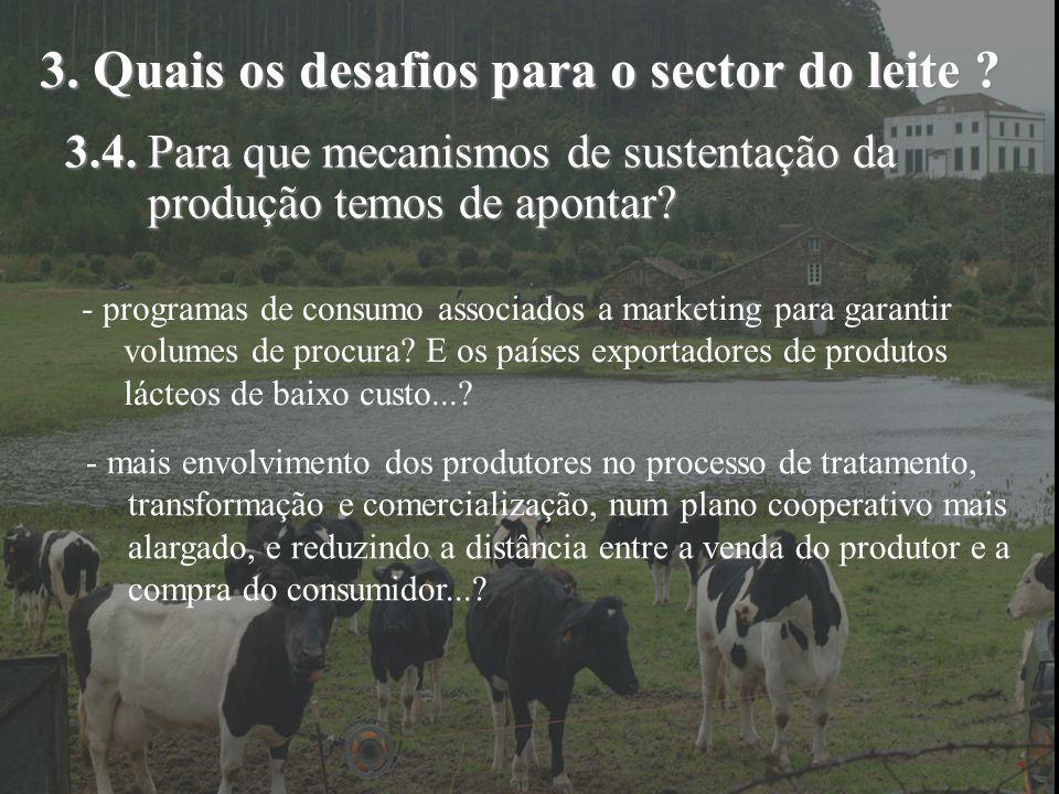 3. Quais os desafios para o sector do leite ? 3.4. Para que mecanismos de sustentação da produção temos de apontar? - programas de consumo associados