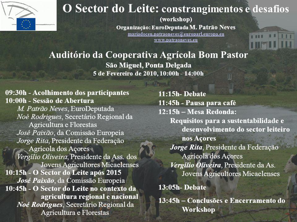 O Sector do Leite: constrangimentos e desafios (workshop) Organização: EuroDeputada M. Patrão Neves mariadoceu.patraoneves@europarl.europa.eu www.patr