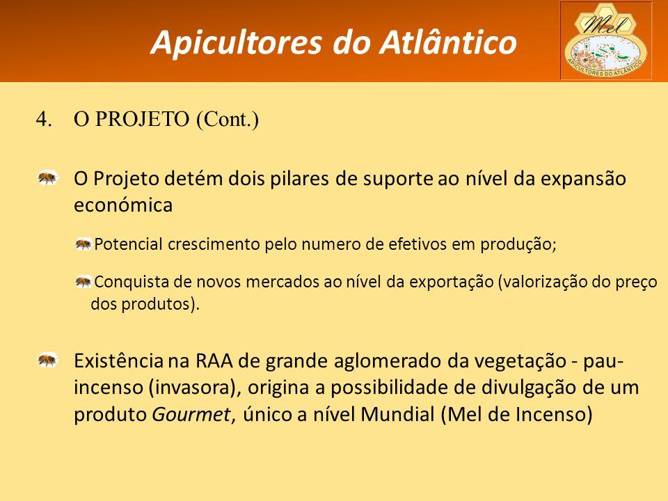 Apicultores do Atlântico 4.O PROJETO (Cont.) O Projeto detém dois pilares de suporte ao nível da expansão económica Potencial crescimento pelo numero