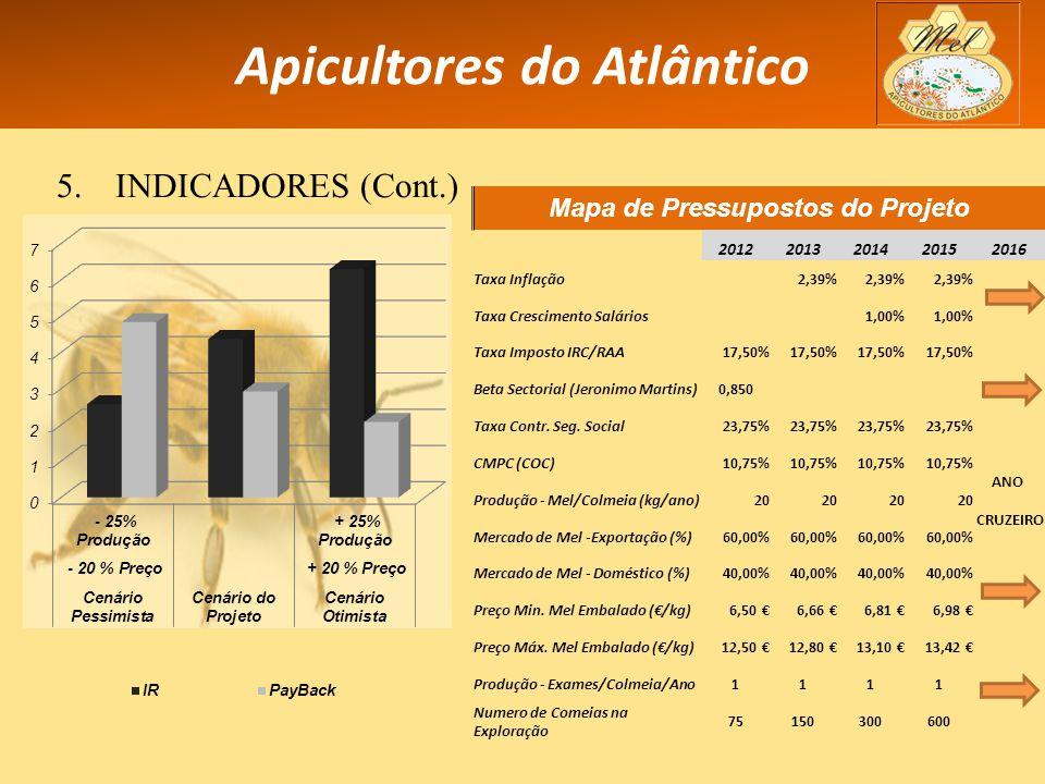 Apicultores do Atlântico 5.INDICADORES (Cont.) Mapa de Pressupostos do Projeto 20122013201420152016 Taxa Inflação2,39% ANO CRUZEIRO Taxa Crescimento Salários1,00% Taxa Imposto IRC/RAA17,50% Beta Sectorial (Jeronimo Martins)0,850 Taxa Contr.
