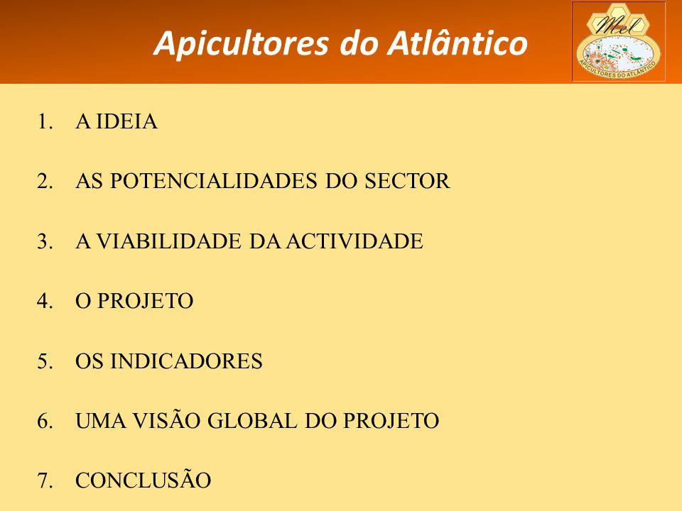 Apicultores do Atlântico 1.A IDEIA 2.AS POTENCIALIDADES DO SECTOR 3.A VIABILIDADE DA ACTIVIDADE 4.O PROJETO 5.OS INDICADORES 6.UMA VISÃO GLOBAL DO PROJETO 7.CONCLUSÃO