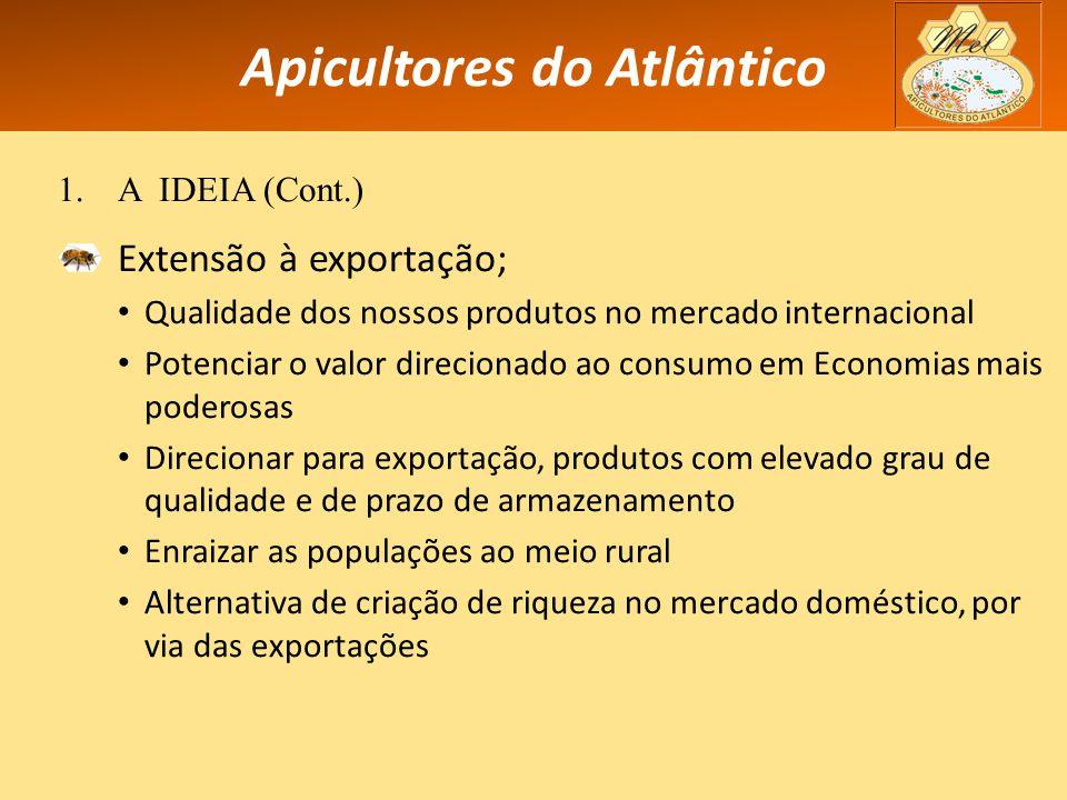 Apicultores do Atlântico 1.A IDEIA (Cont.) Extensão à exportação; Qualidade dos nossos produtos no mercado internacional Potenciar o valor direcionado