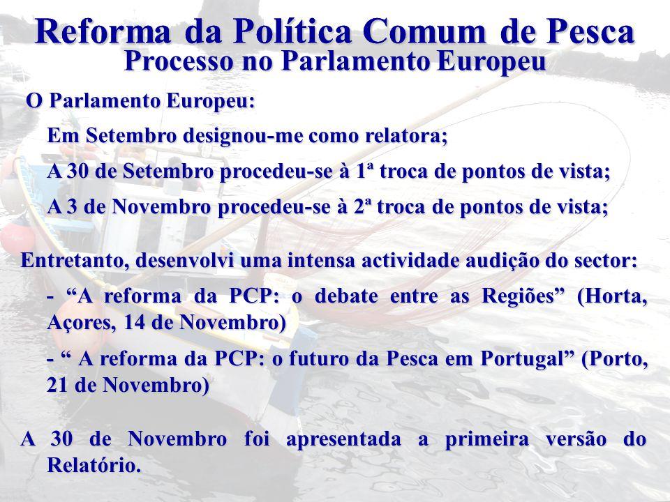 O Parlamento Europeu: O Parlamento Europeu: Em Setembro designou-me como relatora; A 30 de Setembro procedeu-se à 1ª troca de pontos de vista; A 3 de