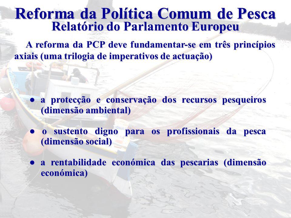 Reforma da Política Comum de Pesca ● a protecção e conservação dos recursos pesqueiros (dimensão ambiental) ● o sustento digno para os profissionais d