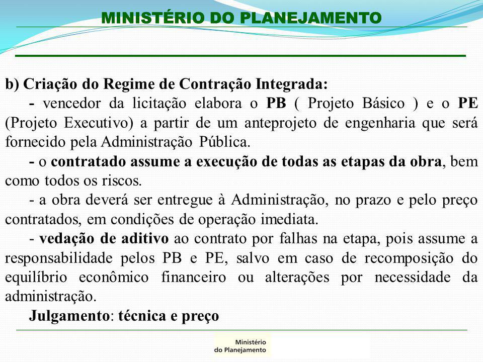 MINISTÉRIO DO PLANEJAMENTO b) Criação do Regime de Contração Integrada: - vencedor da licitação elabora o PB ( Projeto Básico ) e o PE (Projeto Execut