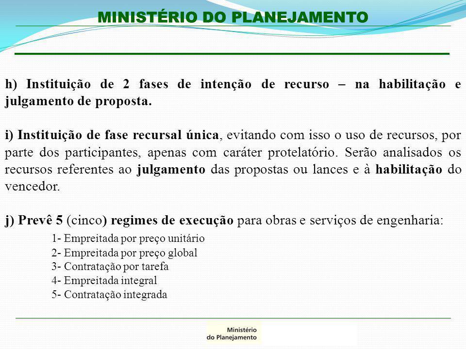 MINISTÉRIO DO PLANEJAMENTO h) Instituição de 2 fases de intenção de recurso – na habilitação e julgamento de proposta. i) Instituição de fase recursal