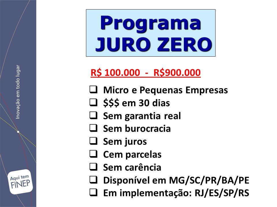 Programa JURO ZERO JURO ZERO  Micro e Pequenas Empresas  $$$ em 30 dias  Sem garantia real  Sem burocracia  Sem juros  Cem parcelas  Sem carênc