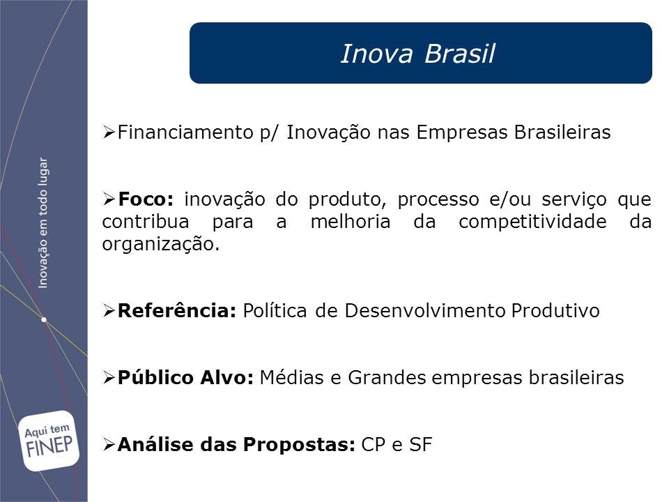 Financiamento p/ Inovação nas Empresas Brasileiras  Foco: inovação do produto, processo e/ou serviço que contribua para a melhoria da competitivida