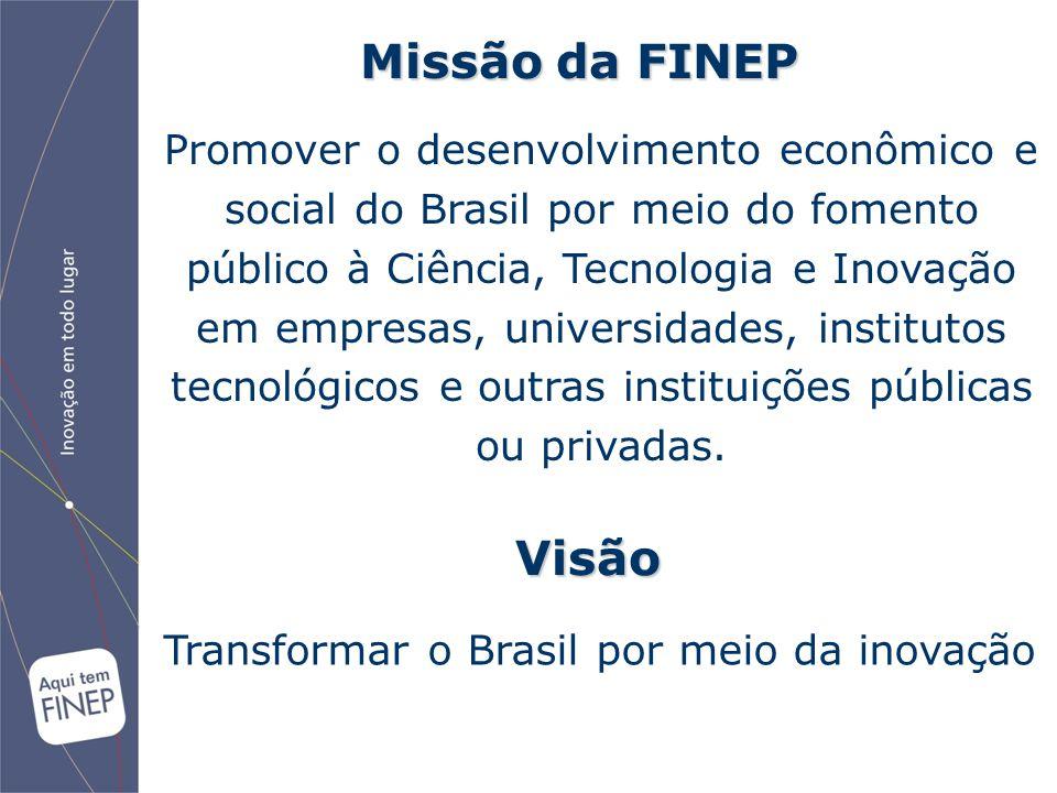 Promover o desenvolvimento econômico e social do Brasil por meio do fomento público à Ciência, Tecnologia e Inovação em empresas, universidades, insti