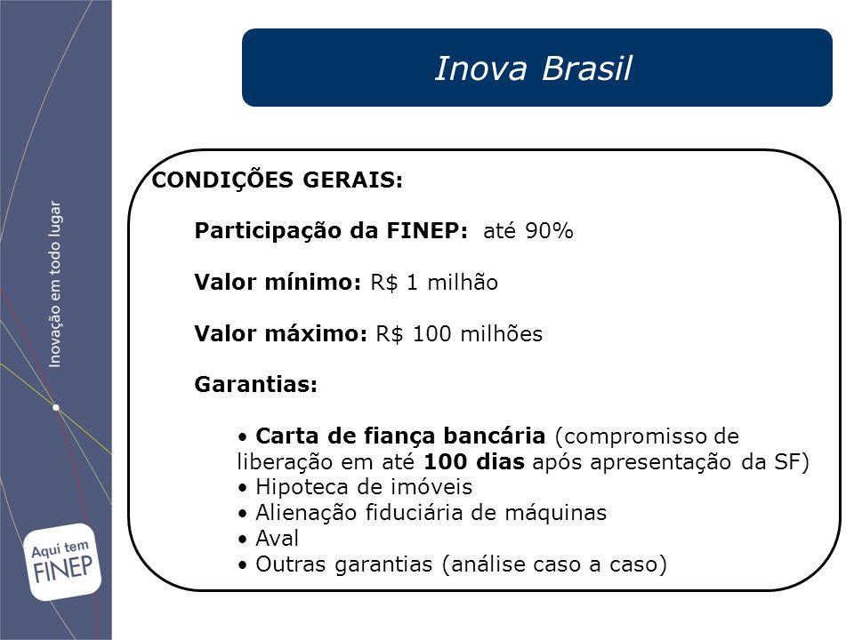 Inova Brasil CONDIÇÕES GERAIS: Participação da FINEP: até 90% Valor mínimo: R$ 1 milhão Valor máximo: R$ 100 milhões Garantias: Carta de fiança bancár