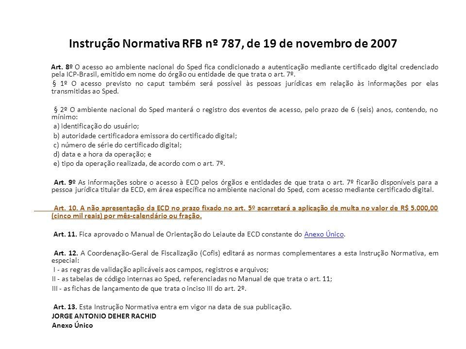 Instrução Normativa RFB nº 787, de 19 de novembro de 2007 Art.
