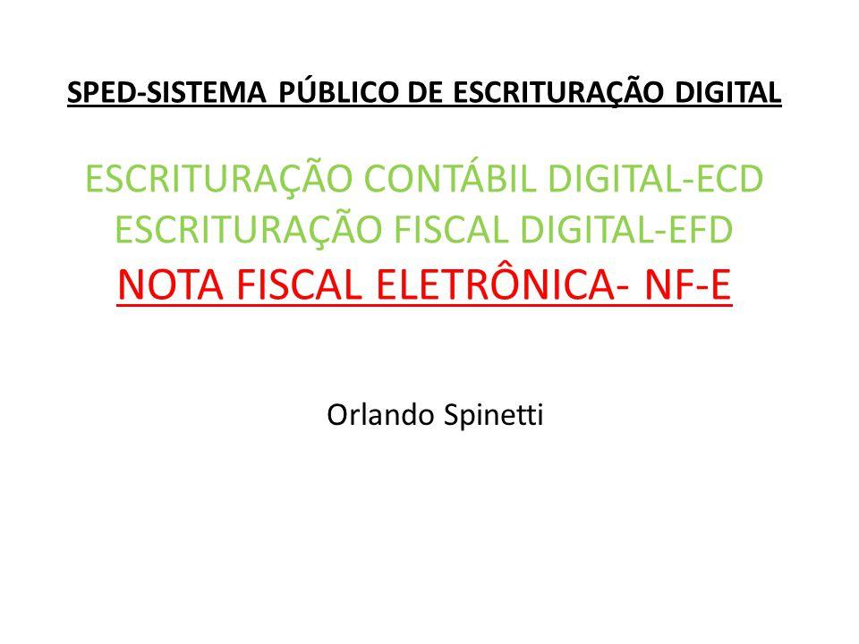 SPED-SISTEMA PÚBLICO DE ESCRITURAÇÃO DIGITAL ESCRITURAÇÃO CONTÁBIL DIGITAL-ECD ESCRITURAÇÃO FISCAL DIGITAL-EFD NOTA FISCAL ELETRÔNICA- NF-E Orlando Spinetti