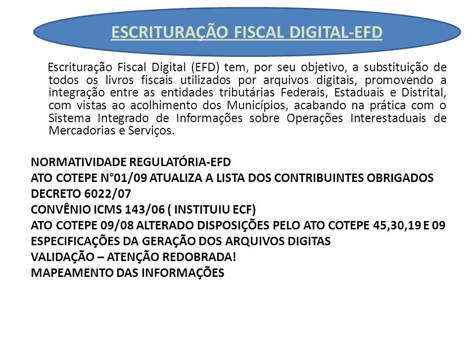 ESCRITURAÇÃO FISCAL DIGITAL-EFD Escrituração Fiscal Digital (EFD) tem, por seu objetivo, a substituição de todos os livros fiscais utilizados por arquivos digitais, promovendo a integração entre as entidades tributárias Federais, Estaduais e Distrital, com vistas ao acolhimento dos Municípios, acabando na prática com o Sistema Integrado de Informações sobre Operações Interestaduais de Mercadorias e Serviços.