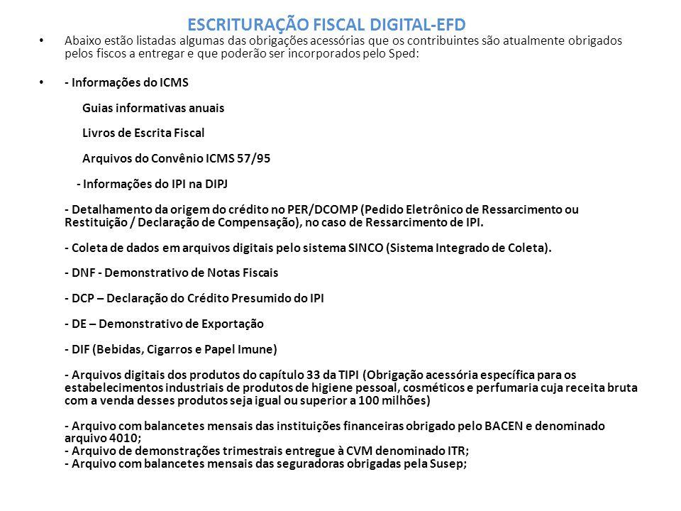 Abaixo estão listadas algumas das obrigações acessórias que os contribuintes são atualmente obrigados pelos fiscos a entregar e que poderão ser incorporados pelo Sped: - Informações do ICMS Guias informativas anuais Livros de Escrita Fiscal Arquivos do Convênio ICMS 57/95 - Informações do IPI na DIPJ - Detalhamento da origem do crédito no PER/DCOMP (Pedido Eletrônico de Ressarcimento ou Restituição / Declaração de Compensação), no caso de Ressarcimento de IPI.