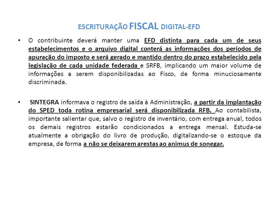 ESCRITURAÇÃO FISCAL DIGITAL-EFD O contribuinte deverá manter uma EFD distinta para cada um de seus estabelecimentos e o arquivo digital conterá as informações dos períodos de apuração do imposto e será gerado e mantido dentro do prazo estabelecido pela legislação de cada unidade federada e SRFB, implicando um maior volume de informações a serem disponibilizadas ao Fisco, de forma minuciosamente discriminada.
