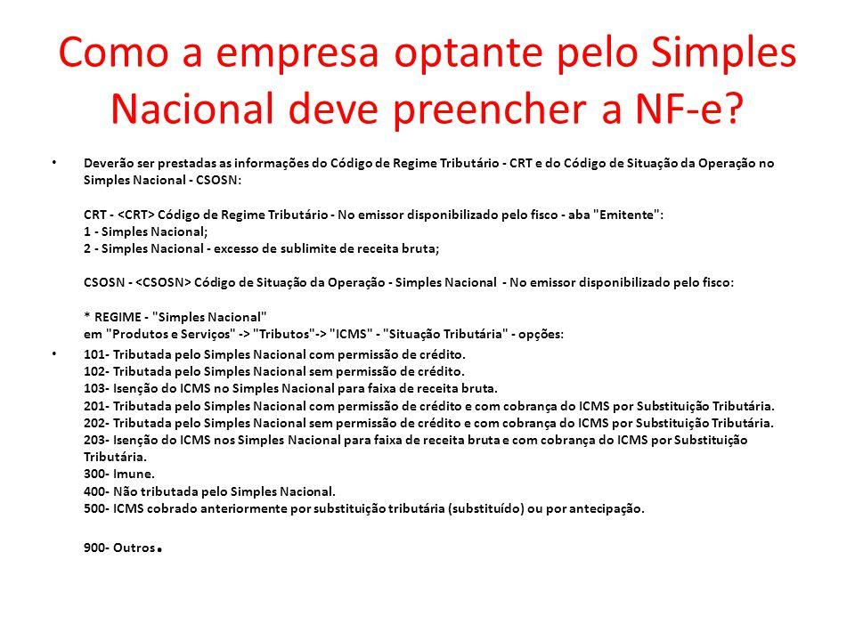 Como a empresa optante pelo Simples Nacional deve preencher a NF-e.