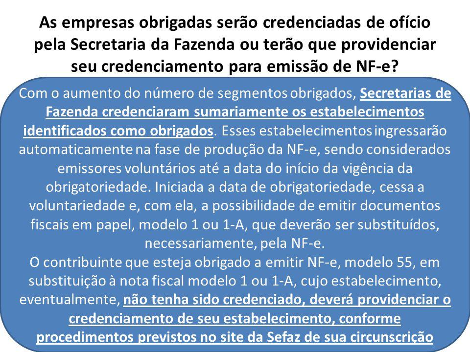 As empresas obrigadas serão credenciadas de ofício pela Secretaria da Fazenda ou terão que providenciar seu credenciamento para emissão de NF-e.