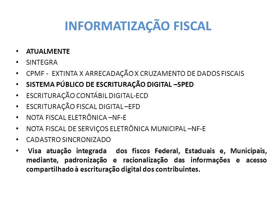 INFORMATIZAÇÃO FISCAL ATUALMENTE SINTEGRA CPMF - EXTINTA X ARRECADAÇÃO X CRUZAMENTO DE DADOS FISCAIS SISTEMA PÚBLICO DE ESCRITURAÇÃO DIGITAL –SPED ESCRITURAÇÃO CONTÁBIL DIGITAL-ECD ESCRITURAÇÃO FISCAL DIGITAL –EFD NOTA FISCAL ELETRÔNICA –NF-E NOTA FISCAL DE SERVIÇOS ELETRÔNICA MUNICIPAL –NF-E CADASTRO SINCRONIZADO Visa atuação integrada dos fiscos Federal, Estaduais e, Municipais, mediante, padronização e racionalização das informações e acesso compartilhado à escrituração digital dos contribuintes.