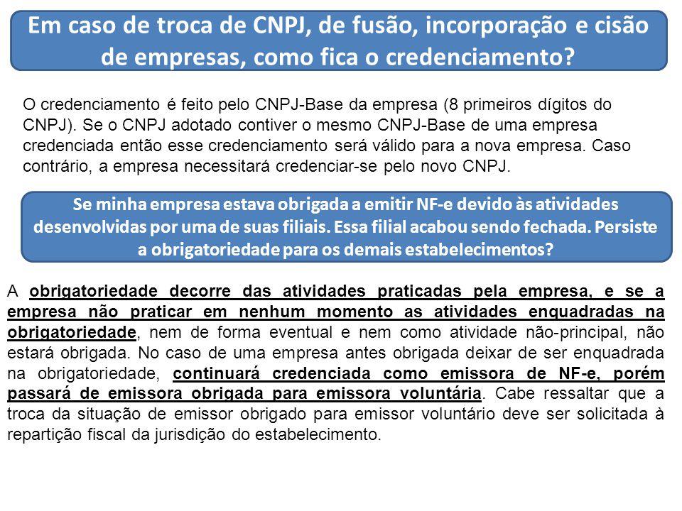 Em caso de troca de CNPJ, de fusão, incorporação e cisão de empresas, como fica o credenciamento.