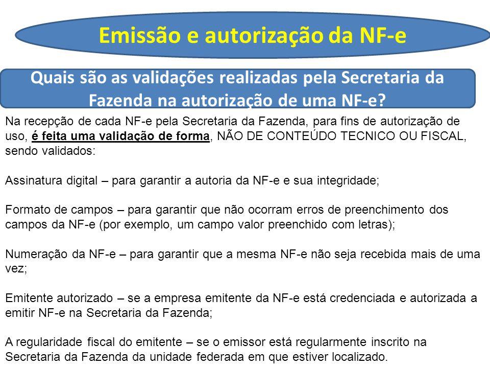 Emissão e autorização da NF-e Quais são as validações realizadas pela Secretaria da Fazenda na autorização de uma NF-e.