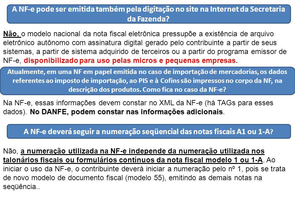 A NF-e pode ser emitida também pela digitação no site na Internet da Secretaria da Fazenda.