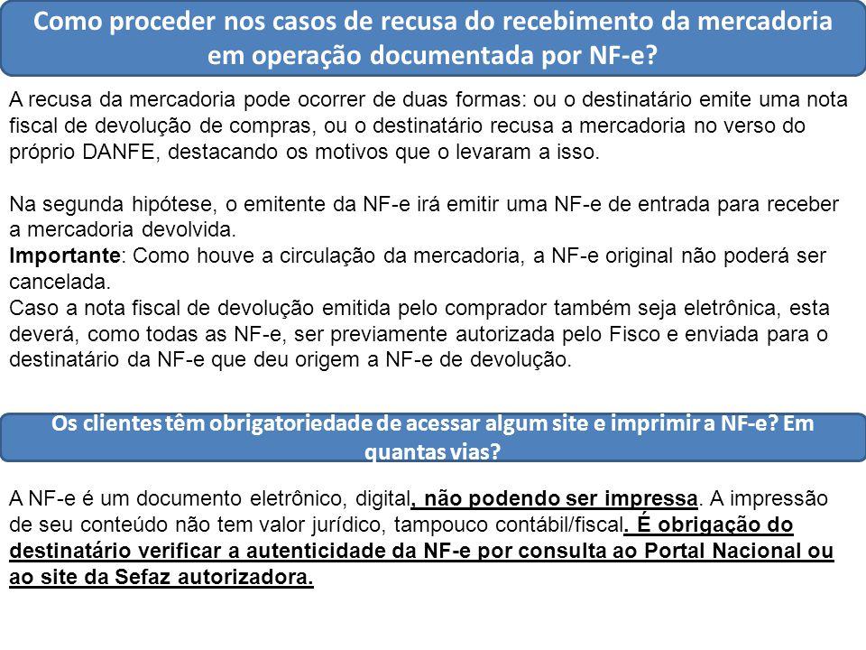 Como proceder nos casos de recusa do recebimento da mercadoria em operação documentada por NF-e.
