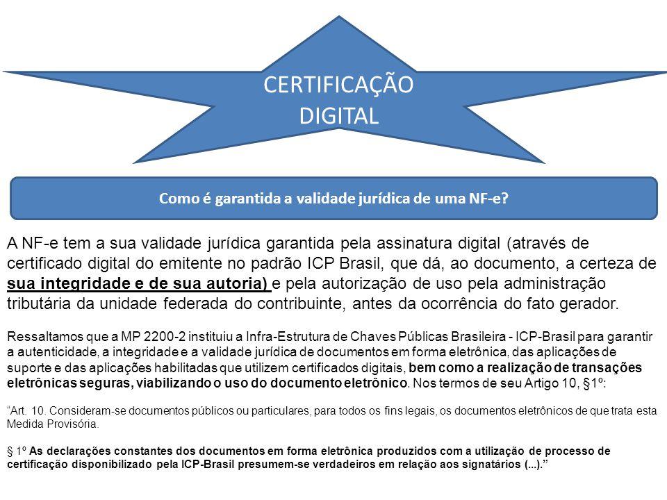 CERTIFICAÇÃO DIGITAL Como é garantida a validade jurídica de uma NF-e.