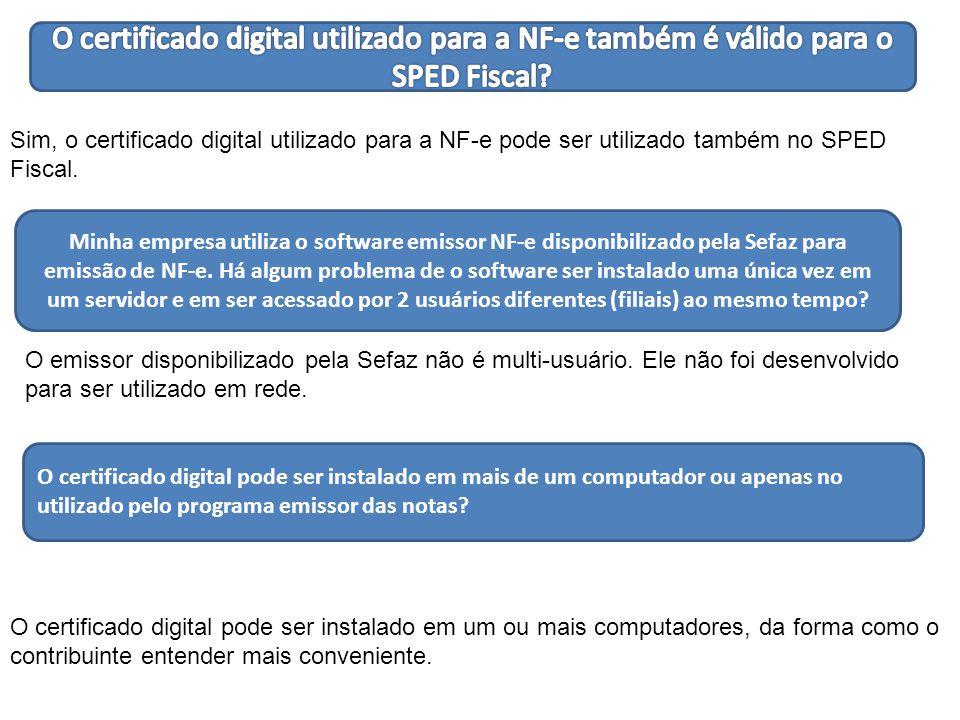 Sim, o certificado digital utilizado para a NF-e pode ser utilizado também no SPED Fiscal.