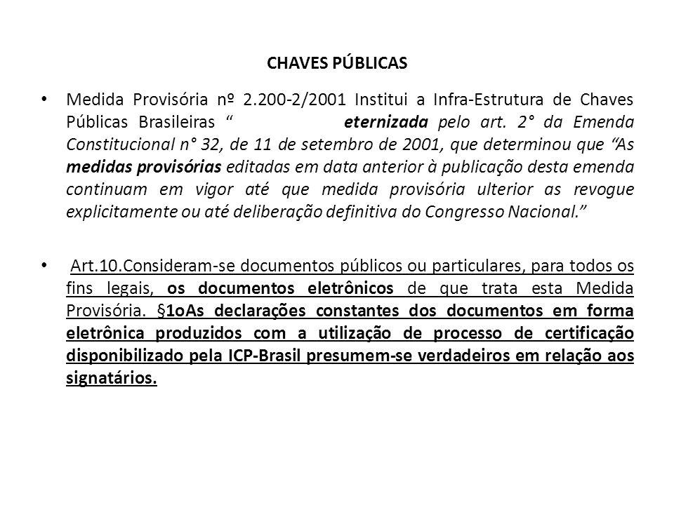 CHAVES PÚBLICAS Medida Provisória nº 2.200-2/2001 Institui a Infra-Estrutura de Chaves Públicas Brasileiras eternizada pelo art.