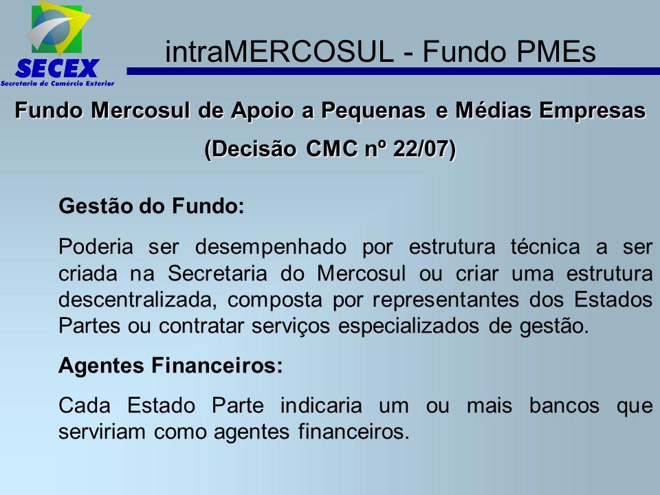intraMERCOSUL - Fundo PMEs Fundo Mercosul de Apoio a Pequenas e Médias Empresas (Decisão CMC nº 22/07) Gestão do Fundo: Poderia ser desempenhado por estrutura técnica a ser criada na Secretaria do Mercosul ou criar uma estrutura descentralizada, composta por representantes dos Estados Partes ou contratar serviços especializados de gestão.