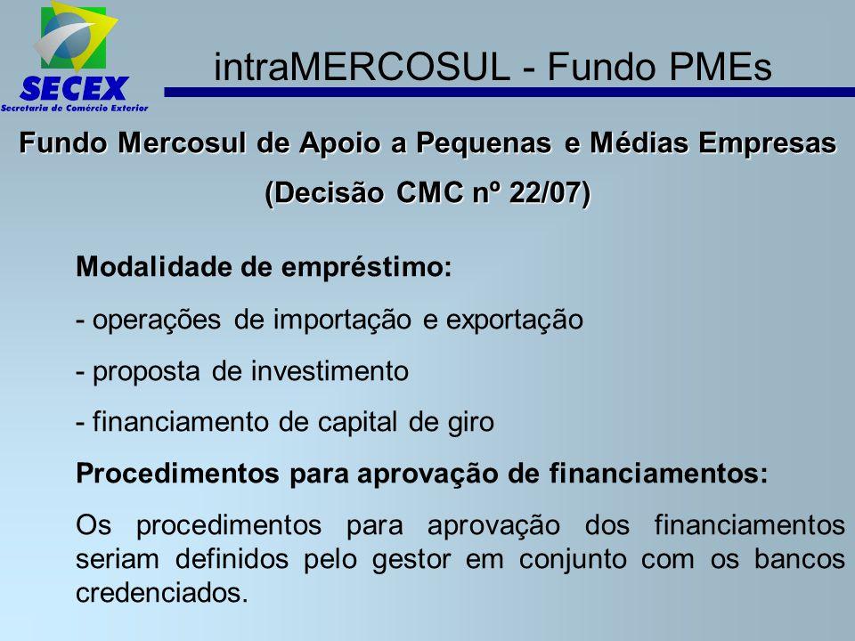 intraMERCOSUL - Fundo PMEs Fundo Mercosul de Apoio a Pequenas e Médias Empresas (Decisão CMC nº 22/07) Modalidade de empréstimo: - operações de importação e exportação - proposta de investimento - financiamento de capital de giro Procedimentos para aprovação de financiamentos: Os procedimentos para aprovação dos financiamentos seriam definidos pelo gestor em conjunto com os bancos credenciados.