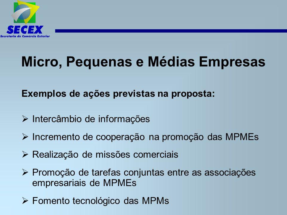 Micro, Pequenas e Médias Empresas Exemplos de ações previstas na proposta:  Intercâmbio de informações  Incremento de cooperação na promoção das MPMEs  Realização de missões comerciais  Promoção de tarefas conjuntas entre as associações empresariais de MPMEs  Fomento tecnológico das MPMs