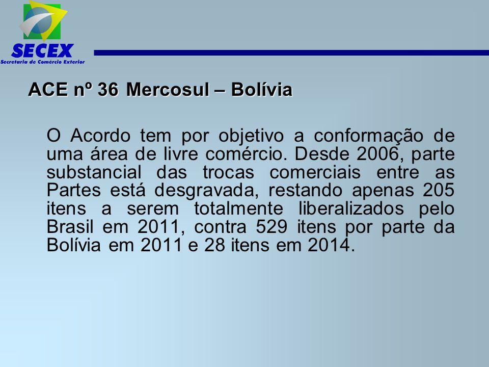 ACE nº 36 Mercosul – Bolívia O Acordo tem por objetivo a conformação de uma área de livre comércio.