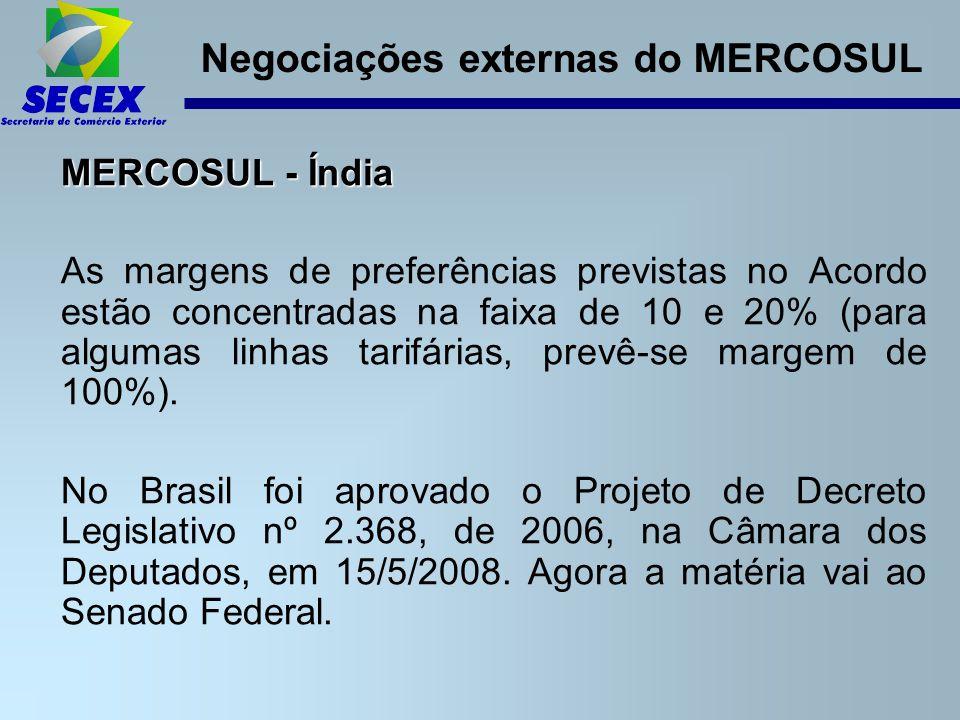 Negociações externas do MERCOSUL MERCOSUL - Índia As margens de preferências previstas no Acordo estão concentradas na faixa de 10 e 20% (para algumas linhas tarifárias, prevê-se margem de 100%).