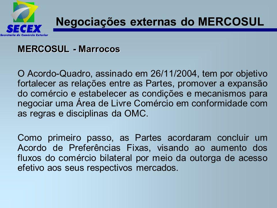 Negociações externas do MERCOSUL MERCOSUL - Marrocos O Acordo-Quadro, assinado em 26/11/2004, tem por objetivo fortalecer as relações entre as Partes, promover a expansão do comércio e estabelecer as condições e mecanismos para negociar uma Área de Livre Comércio em conformidade com as regras e disciplinas da OMC.