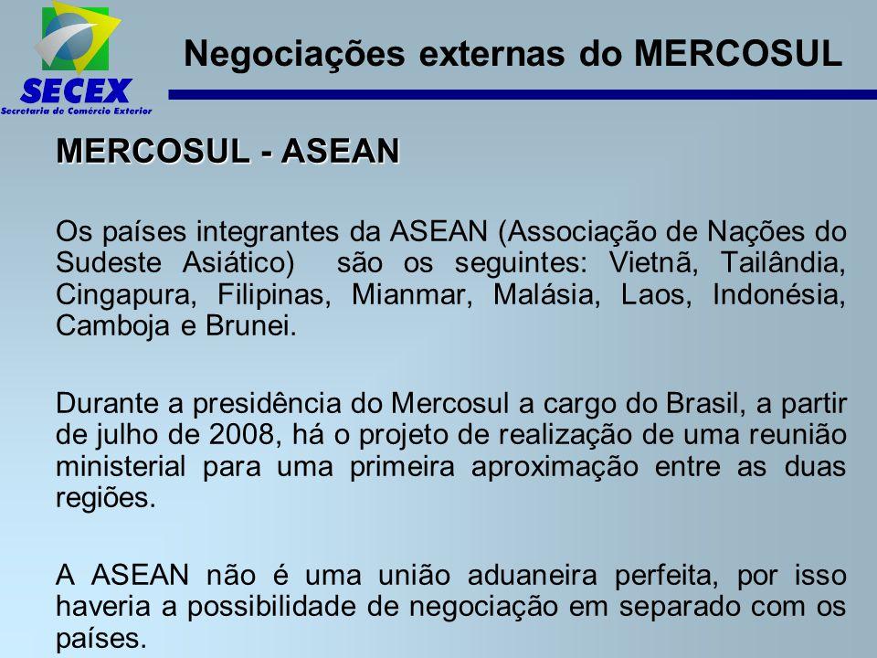 Negociações externas do MERCOSUL MERCOSUL - ASEAN Os países integrantes da ASEAN (Associação de Nações do Sudeste Asiático) são os seguintes: Vietnã, Tailândia, Cingapura, Filipinas, Mianmar, Malásia, Laos, Indonésia, Camboja e Brunei.