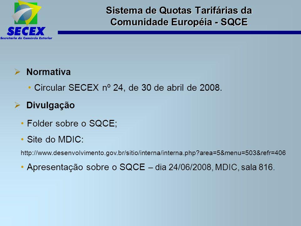  Normativa Circular SECEX nº 24, de 30 de abril de 2008.