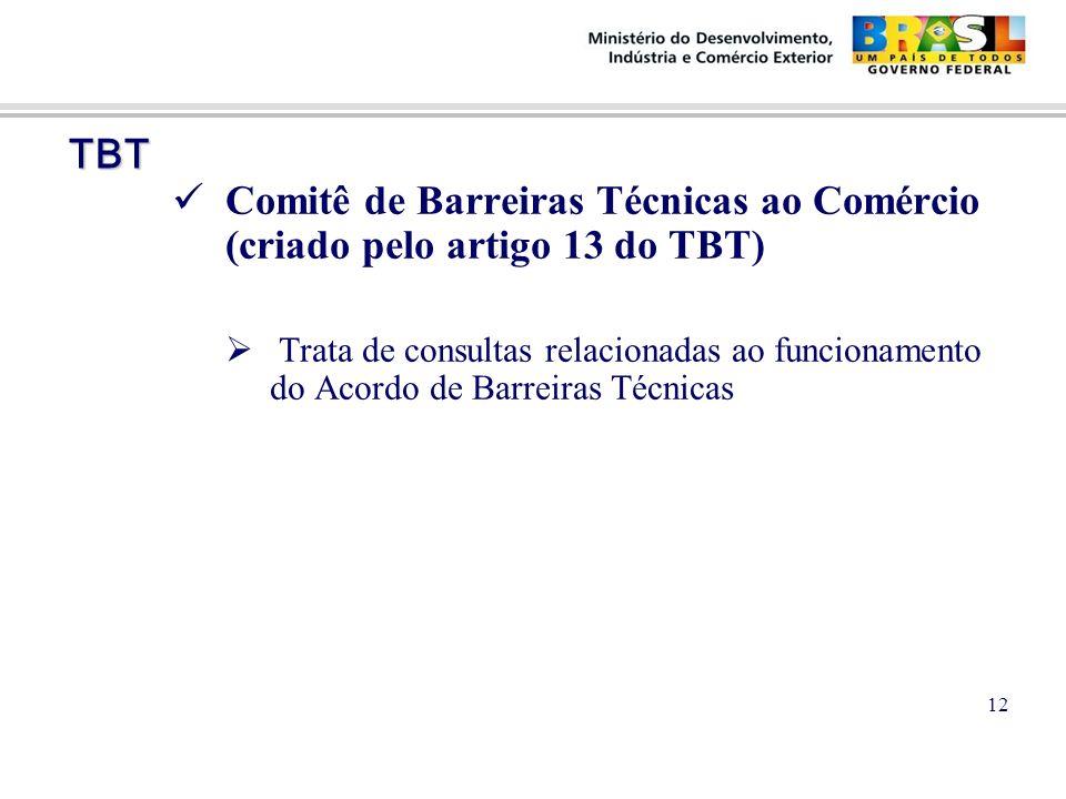 TBT TBT Comitê de Barreiras Técnicas ao Comércio (criado pelo artigo 13 do TBT)  Trata de consultas relacionadas ao funcionamento do Acordo de Barreiras Técnicas 12