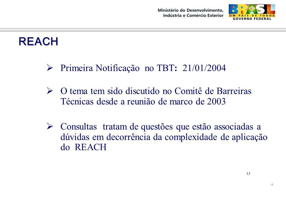 REACH REACH  Primeira Notificação no TBT: 21/01/2004  O tema tem sido discutido no Comitê de Barreiras Técnicas desde a reunião de marco de 2003  C