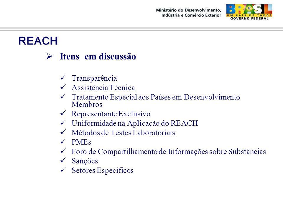 REACH REACH  Itens em discussão Transparência Assistência Técnica Tratamento Especial aos Países em Desenvolvimento Membros Representante Exclusivo Uniformidade na Aplicação do REACH Métodos de Testes Laboratoriais PMEs Foro de Compartilhamento de Informações sobre Substâncias Sanções Setores Específicos 14