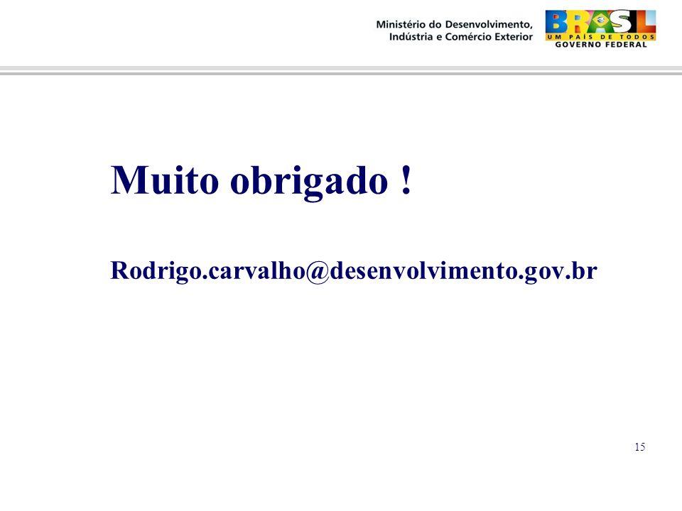 Muito obrigado ! Rodrigo.carvalho@desenvolvimento.gov.br 15