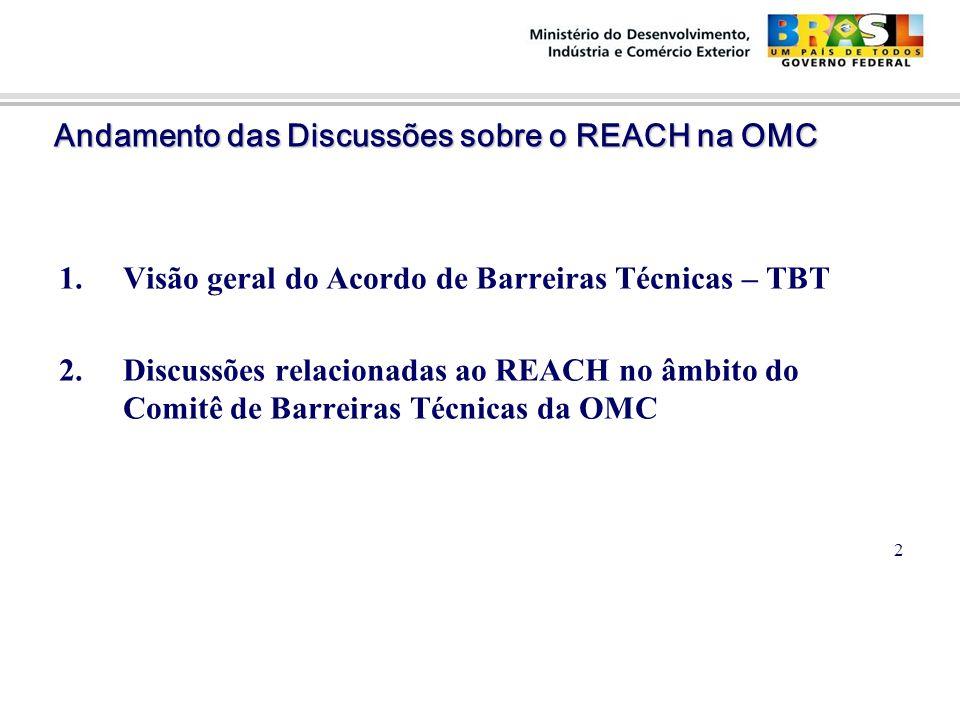Andamento das Discussões sobre o REACH na OMC Andamento das Discussões sobre o REACH na OMC 1.Visão geral do Acordo de Barreiras Técnicas – TBT 2.Discussões relacionadas ao REACH no âmbito do Comitê de Barreiras Técnicas da OMC 2