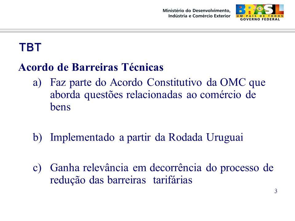TBT TBT Acordo de Barreiras Técnicas a)Faz parte do Acordo Constitutivo da OMC que aborda questões relacionadas ao comércio de bens b)Implementado a partir da Rodada Uruguai c)Ganha relevância em decorrência do processo de redução das barreiras tarifárias 3